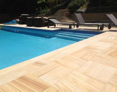 Teakwood sandstone pool coping tiles drop face by stone pavers melbourne, sydney, canberra, brisbane, adelaide, and hobart..