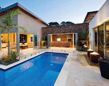 Teakwood sandstone pool coping tiles drop face by stone pavers melbourne, sydney, canberra, brisbane, adelaide and hobart