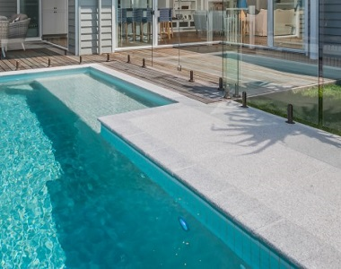 dove granite bullnose pool coping tiles, white coping, light pool coping by stone pavers australia, pool paver