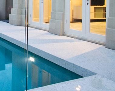 dove grey granite drop face pool coping tiles and pavers, white tiles, white pool coping tiles by stone pavers australia