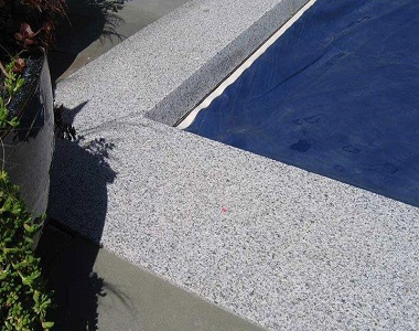 dove grey granite drop face pool coping tiles and pavers, white tiles, white pool coping tiles by stone pavers melbourne sydney brisbane canberra adelaide