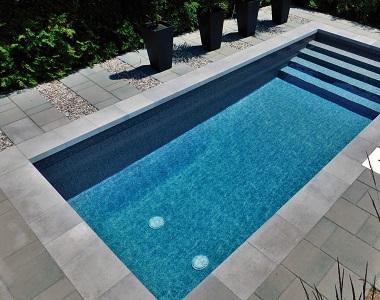 harkaway bluestone drop face pool coping tiles, drop down coping tiles, black tiles, dark tiles, blue pavers