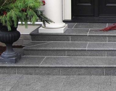 raven granite pool coping bullnose tiles, grey coping tiles, dark coping tiles, black granite pool coping by stone pavers australia, steps