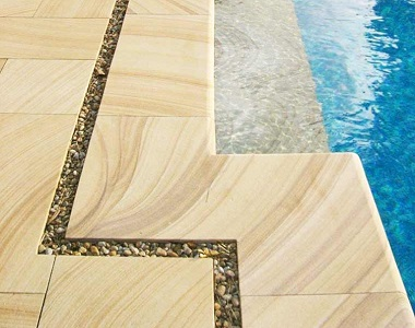 sandstone pool coping tiles bullnose, yellow pavers, outdoor pool coping pavers by stone pavers melbourne, sydney brisbane canberra &hobart