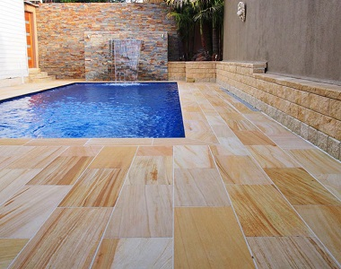 teakwood sandstone pavers and tiles, yellow tiles, ochre tiles, pool pavers and pool coping melbourne, sydney, brisbane, canberra, adelaide