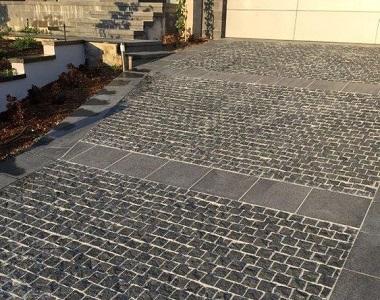 Black cobblestone pavers