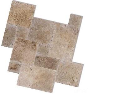 Noce Travertine French Pattern Tiles, Beige tiles, brown tiles, dark tikes by stone pavers australia