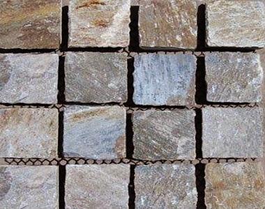 Golden Quartz Cobblestones on mesh sheet