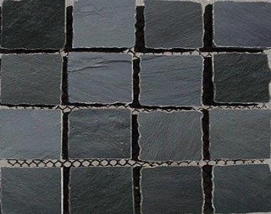 black slate cobblestone stone pavers