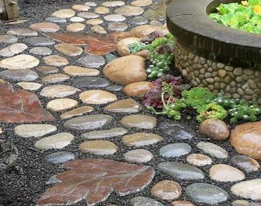 walkway loose pebble natural stone pathways and walkways