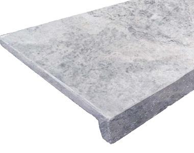 Silver Travertine Drop Face Pool Coping, silver tiles, stone pavers australia