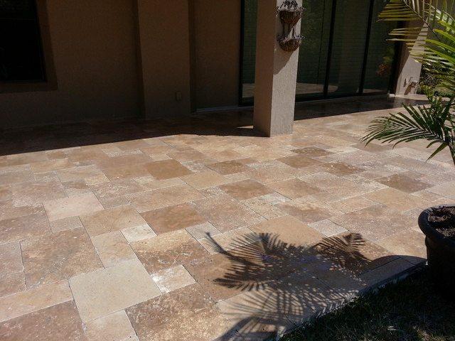 Noce travertine french pattern tiles