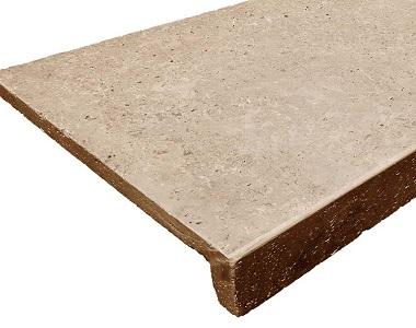 Noce Travertine Drop Face Pool Coping Tiles, dark tiles, brown tiles, ochre tiles, stone pavers melbourne, sydney, canberra