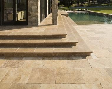 noce travertine bullnose pool coping tiles, brown tiles, beige tiles, cream tiles, round edge pool tiles, stone pavers melbourne