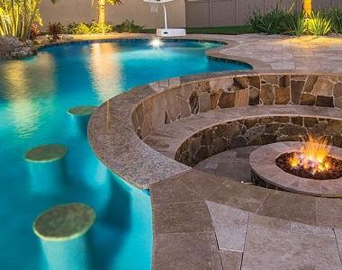 noce travertine bullnose pool coping tiles, brown tiles, beige tiles, cream tiles, round edge pool tiles, stone pavers