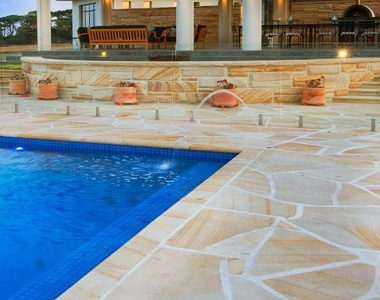 teakwood sandstone crazy paving tiles and pavers, pool pavers,l outdoor tiles, beige tiles, cream tiles, yellow pavers by stone pavers melbourne sydney canberra