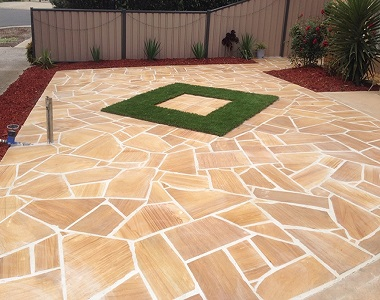 teakwood sandstone crazy paving tiles and pavers, pool pavers,l outdoor tiles, beige tiles, cream tiles, yellow pavers by stone pavers melbourne sydney