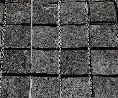 Black cobblestones driveways tiles
