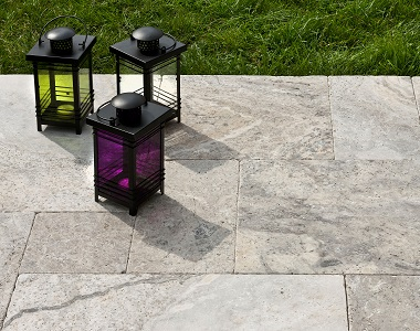 oyster silver travertine tiles flooring by stone pavers melbourne, sydney, brisbane and adelaide