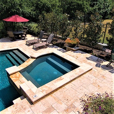 mocha travertine tiling and paving by stone pavers