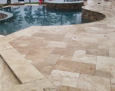 Ivory Rustic Travertine Bullnose Pool coping, biege pool coping tiles, round edge pool coping by stone pavers sydney