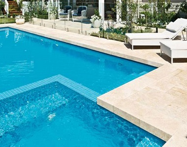 Ivory Travertine Drop Face Pool Coping Tiles and Pavers, beige tiles, cream tiles, stone pavers sydney