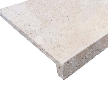 Ivory Travertine Drop Face Pool Coping Tiles and Pavers, beige tiles, cream tiles, stone pavers