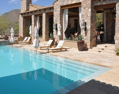 Noce Travertine Tumbled pool Coping, brown tiles, ochre coping tiles by stone pavers australia