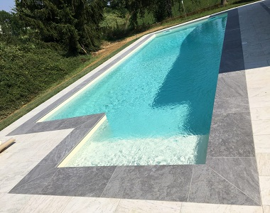 Pearl Grey Drop Face Pool Coping Tiles, grey tiles, dark tiles, black tiles, stone pavers australia melbourne