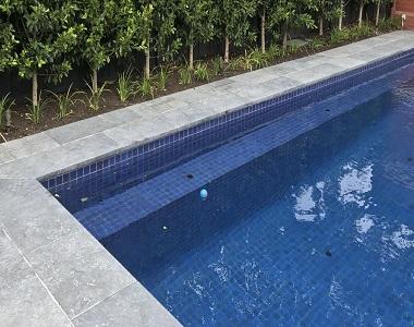 Pearl Grey Drop Face Pool Coping Tiles, grey tiles, dark tiles, black tiles, stone pavers sydney