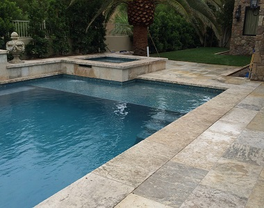 Silver Oyster Travertine Pool Coping Tumbled tiles, silver pavers, silver coping tiles, silver pool pavers by stone pavers