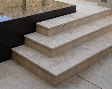 ivory travertine pool coping tumbled pavers, biege coping, cream pavers by stone pavers melbourne and sydney