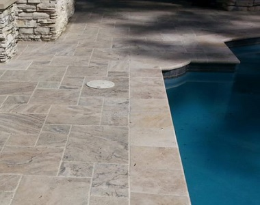 oyster silver travertine bullnose pool coping, round edge pool coping, silver pool coping tiles at stone pavers