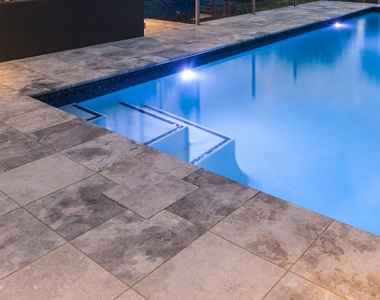 silver oyster travertine bullnose pool coping, round edge pool coping, silver pool coping tiles by stone pavers