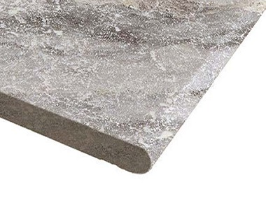 silver travertine bullnose pool coping, round edge pool coping, silver pool coping tiles by stone pavers melbourne