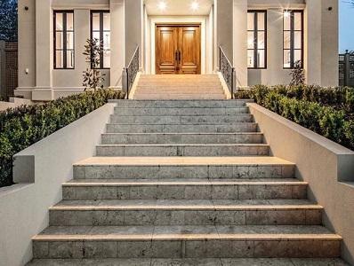silver travertine pool coping tumbled tiles, silver tiles, silver coping, silver steps by stone pavers australia