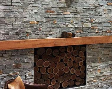 ebony ledgestone fireplace stone wall cladding